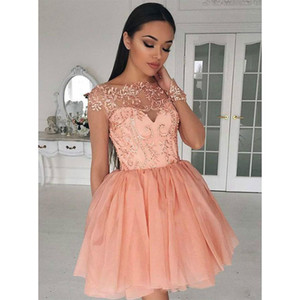 Coral Chiffon Homecoming Dresses Short Sheer Tulle Long Sleeve Graduation Gowns Knee Length Lace Appliques Prom Dresses
