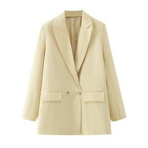 BLSQR AMARILLO 2020 FORMAL Blazers Lady Office Trabajo Traje Pockets Abrigo Mujer Blazer Femme Chaquetas