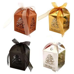 25pcs Cut Cut Hollow Candy Caja con la cinta Fiesta de boda Favors Favores Cajas Musulmán Eid Mubarak Ramadan Decoración de fiesta GWE4671