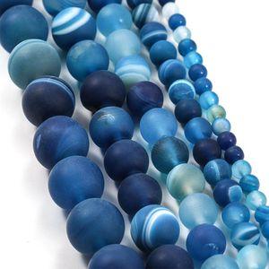 1 Lot 4 6 8 10 12mm Azul Matt Matt Stripe Stripe Stripe Round Beads Para Bracelete DIY Máquinas de Jóias Suprimentos H Jllijs