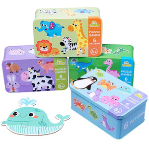 Kids Creative Wooden Puzzle Iron Box Kindergarten Baby Early Education Cartoon Animal Traffic Puzzle Cognitive Interactive Game 201218