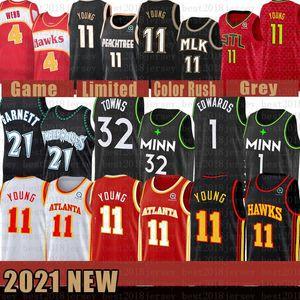 2021 Neues Basketball-Jersey MinnesotaTimberwolvesAtlantaHawk Mens 21 Garnett 1 Edwards 32 Städte 11 Junge 4 Webb Orange