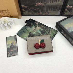 Strawberry Fashion Women Credit Card Holders Classic Mini Bank Card Holder Small Wallet Real Leather Wallet With Box