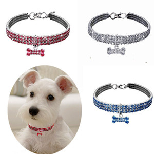 Dog Cat Collar Crystal Bling Rhinestone Pet Puppy Necklace Collars Leash For Small Medium Dogs Diamond Jewelry EWA2590