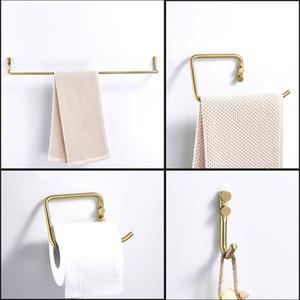 Bathroom Accessories Stainless Steel Gold Brushed Towel Ring Robe Hook Toilet Holder Towel Bar Bathroom Four Sets Paper Holder