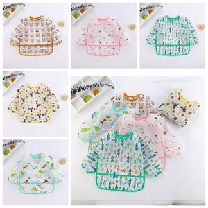 Baby Bibs Cartoon Print Burp Clothes Feeding Bib Anti-Dirty Waterproof Saliva Towel Cute Detachable Infant Food Clothing Pinafores DDC4217