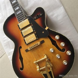Free shipping Top quality color gold hardware Archtop three pickups thick hollow body bridge electric guitar guitarra guitars
