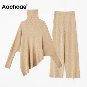 AACHOAE Mujeres 2 piezas conjuntos de punto Turtleneck Batwing Sweve Suéter irregular Set Flow Casual Elástico Cintura Pantalones Pantalones