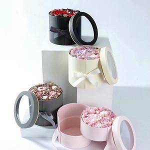 리본 이블 레이어 라운드 꽃 종이 상자 크리 에이 티브 장미 꽃다발 선물 포장 포장 골 판지 상자 발렌타인 데이 웨딩 장식