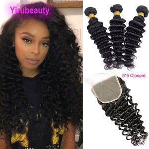 Peruanisches menschliches Haar Jungfrau 5 * 5 Schließung mit 3 Bündeln Deep Wave 18-30inch Courly Hair Products 4 stücke Deep Wave 5x5 Verschluss mit drei Bündeln