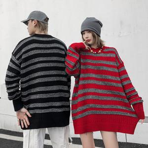Maglioni da uomo a strisce Streetwear uomini e donne pullover girocollo collo oversize maglione casual maglia a maglia larghe