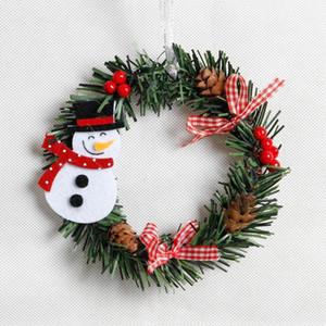 Снеговик Рождественский олень ткань искусства венок ротанга тростник венок гирлянда рождественские украшения украшения вечеринка поставляет домашний декор DHE4458