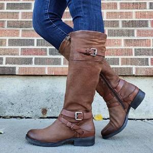 Autumn Winter Women Knee High Boots Faux Leather Low Heels Platform Ladies Long Boots Bukle Strap Vintage Female Shoes