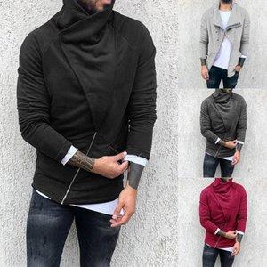 2020 Men's Solid Color Zip Up Hoodie Classic Winter Hooded Sweatshirt Zipper Fleece Warm Cardigan Jacket Coat Top Autumn