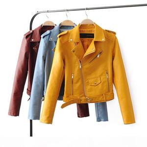 Wholesale-TOB PU leather jacket short for autumn&winter plus size L black&white&sky blue&pink 5 colors fashion women jacket