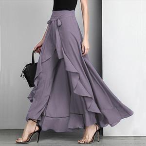 Women Palazzo Pants 2020 Causal Ruffle Irregular Plus Size Female Trouser Elegant High Waist Loose Solid Female Pants Skirt