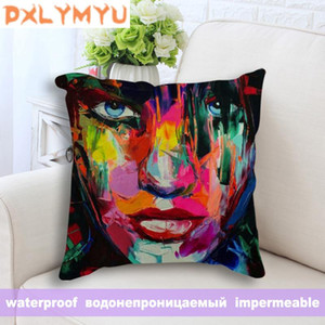 Almofada / travesseiro decorativo 45x45cm Cobertura de almofada macia Retrato pintura a óleo abstrato impressão de rosto impressão fronha impermeável decorativo lance co