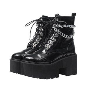 Lace up shoes gothic boots women fur demonia boots botas militares Mujer winter shoes motorcycle waterproof snow YMA957-1