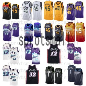 Donovan 45 Mitchell 1 Edwards Basketball Jersey Mens Karl 32 Malone John 12 Stockton 화이트 퍼플 레트로 셔츠