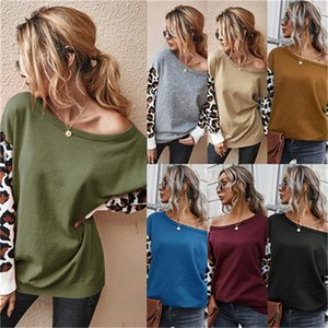 Women's autumn and winter new product explosion of the original fashion casual color stitching leopard-print wide-mouth sweater