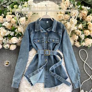 Damen Designer Kleidung Beliebte Beiläufige Gürtel Taille Medium Lange Denim Shirt Frauen All Match Taschen Herbst Winter Jeans Top