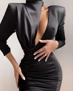 Winter Bodycon Winter Dress 2020 Sexy Cut Out Long Sleeve Black Designer Fashion Evening Party Dress Vestido