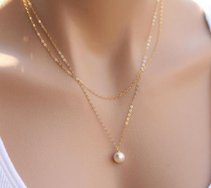 New Fashion Pearl Choker Necklace Cute Double Layer Chain charms Pendant For Women Jewelry Girl Gift