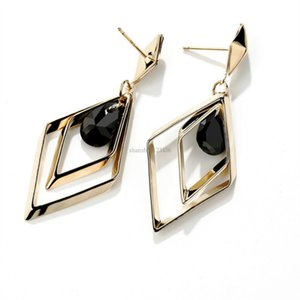 New shape rhombus earrings dangle Red Black crystal statement earrings fashion jewelry for women will and sandy gift