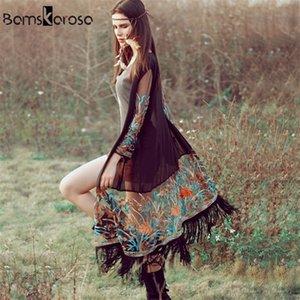 Bamskarosa Bohemian Style Summer Kimono Cardigan Casual Fashion Boho Hippie Ricamo Tassel Caselle Shirt da donna Tops T200322