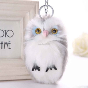 Owl Keychain Carabiner Rabbit Hair Plush toy Key Chain Key Ring Bag hangs key holders bag hangs fashion jewelry will and sandy new