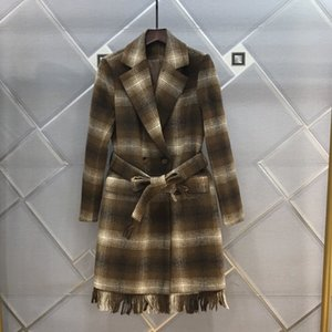 The new autumn winter 2020 women's lapel tie tied knot, waist down fringe, patchwork outer dress and dress