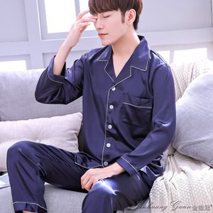 Pajama Men Spring Autumn Long-sleeved Ice Silk Nightwear Suits Male Youth Thin Large Size Sleepwear Pure Color Home Dress H5601 Q1202