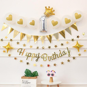 1st Birthday Banner Glitter Flag Baby Shower Party Decorations Girl Boy Foil Number Balloon Supplies Bunting Garland Flag