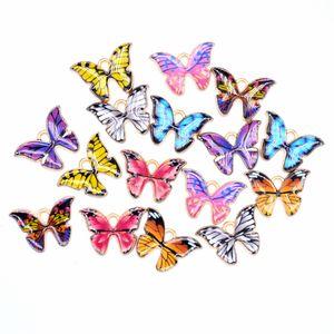 Borboleta colorida encantos pingente 100 pçs / lote encantos 21 * 15mm esmalte animal charme pingentes apto para colar bracelete diy jóias fazendo