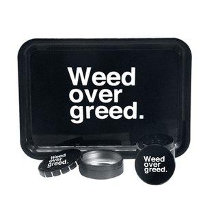 Rolling Tray Creative set LOGO metal grinder plastic metal plate storage tank 3 piece set Smoking set