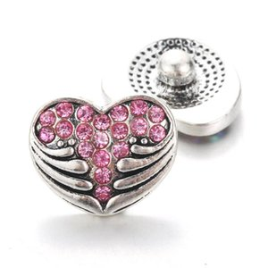 Creative 10pcs Lot Heart Shaped Snap Jewelry 12mm Snap Buttons With Rhinestone Charm Button Fit Snap Bracelets Bangles For Women H jllnhz