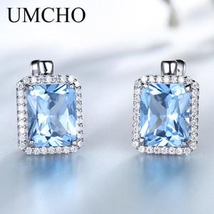 UMCHO Lüks Dikdörtgen Oluşturulan Gökyüzü Mavi Topaz Klip Küpe Katı Kadınlar Için 925 Ayar Gümüş Taş Küpe Güzel Takı Q1120