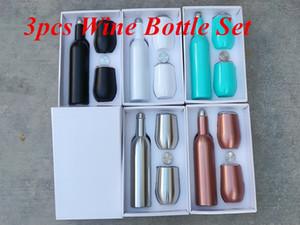 3pcs Bouteille isolée de lot et jeu de gobelet 500 ml bouteille de vin Ensemble bouteille de vin Deux gobelet à vin avec couvercles de verre ensembles de verre cadeau