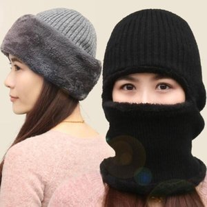 Men Women Winter Ribbed Knitted Balaclava Beanie Hat Outdoor Cycling Plush Lined Thermal Warm Ski Face Cover Neck Gaiter
