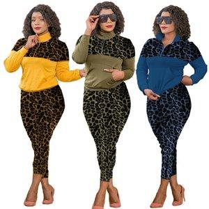 Женские дизайнеры Tracksuits Leopard Lastwork с длинным рукавом отворотный шеи футболки повседневные спортивные брюки плюс размер женщины 2 частей наряд