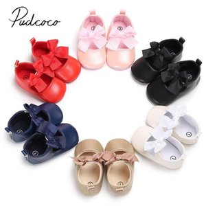 Toddler Infant Newborn Baby Girls 2020 New Style Sneakers Bow Non-slip Crib Bow Shoes Soft Sole Party Prewalkers PU Shoes 0-18M