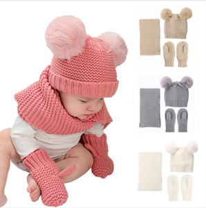 Baby Hat Scarf Gloves Sets Winter Children Knitted Hat Scarf Fur Pom Pom Baby Beanies Solid Color 3 Pieces Set DDA800