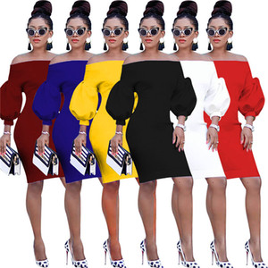 Slash Neck Womens Party Dresses Sexy Lantern Sleeve Bodycon Dress Autumn Fashion Pullover Night Club Women Clothes