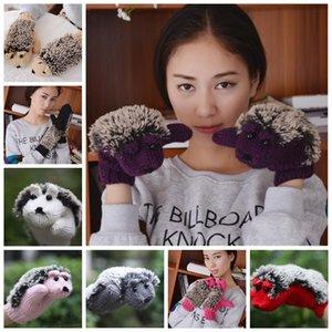 Guanti invernali della novità delle ragazze dei cartoni animati per le donne lavoreri a maglia i guanti di fitness caldi Hedgehog Heedhed Villo villus guanti da polso YHM386