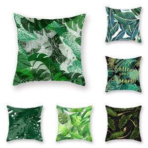 Rainforest Green Plants Print Cushion Cover Home Decor Sofa Bed Back Cushion Cover 45x45cm Sofa Bed Chair Seat Pillowcase