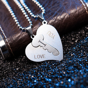 S1921 Hot Fashion Jewelry Stainless Steel I Love You Heart Pendant Necklace Lock Key Pendant Couple Necklace