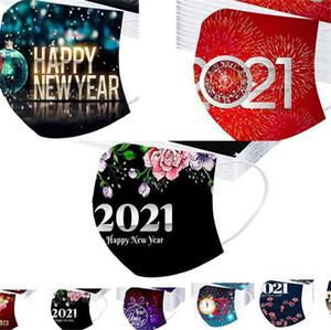 2021 Happy New Year Gesichtsmaske 3 Laub Einweg-Druck-Party-Maske staubdicht atmungsaktive schützende Vlies-Mund-Abdeckungsmaske FY0142