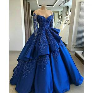 Платья партии Royal Blue с длинным рукавом шаровое платье свадебные бисером кружева аппликация милая шея свадебные 2 слоя Vestido de Novia1