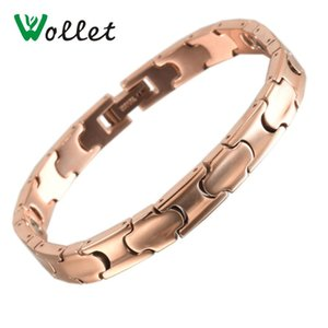 Wollet Jewelry Titanium Bracelets for Men Women Rose Gold Metallic Color 99.999% Pure Germanium Health Healing Energy