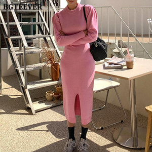 BGTEEVER Vintage Women Long Knitted Dress O-neck Full Sleeve Bodycon Sweater Dress Female 2020 Autumn Winter Vestidos